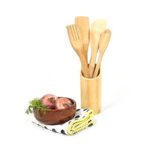 Natural Bamboo Cooking Spoon Set with Stand