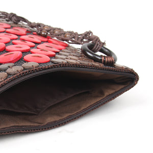 DAISYLIFE Natural and Eco-Friendly Coconut Shell Handbag - Red and Brown color