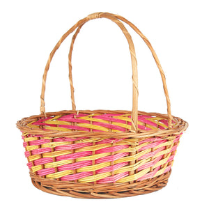 """Pink & Yellow Vines"" Natural Wicker Round Gift Basket (M&B, set of 2 sizes)"