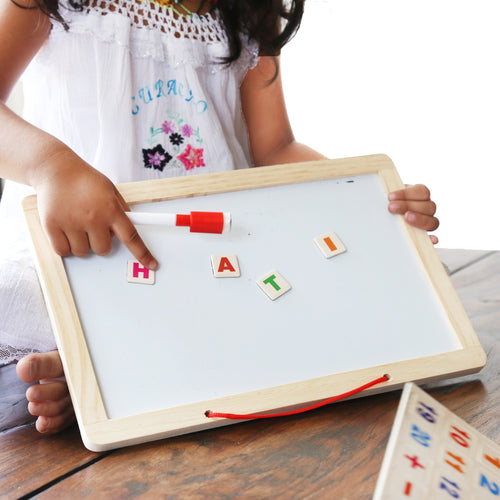 DAISYLIFE Natural and Eco-friendly Wooden Alphabet, Slate and White Board for kids above 2+ years