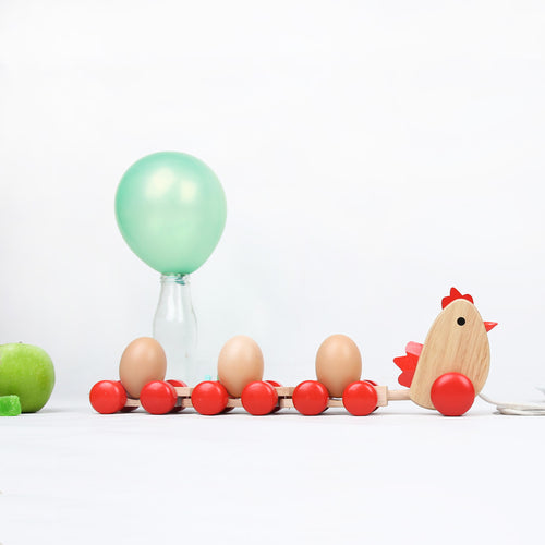 DAISYLIFE Wooden Chicken & Egg Toy Train for Gifting and play for 2+ year olds.