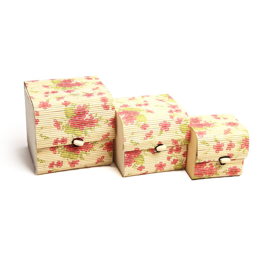 DAISYLIFE Nested Bamboo Box in Floral Print Designs for Storage, Utility & Gifts - Set of 3