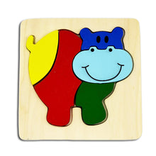 Load image into Gallery viewer, DAISYLIFE Natural and Eco-friendly Wooden Hippo Animal Puzzle Boards for 2+ year old kids