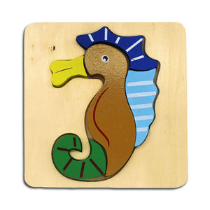 DAISYLIFE Natural and Eco-friendly Wooden Sea Horse Animal Puzzle Boards for 2+ year old kids
