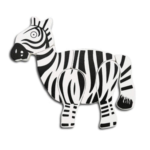 DAISYLIFE Natural and Eco-friendly Wooden Zebra Animal Puzzle Boards for 2+ year old kids