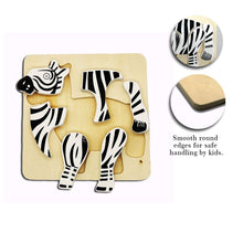 Load image into Gallery viewer, DAISYLIFE Natural and Eco-friendly Wooden Zebra Animal Puzzle Boards for 2+ year old kids