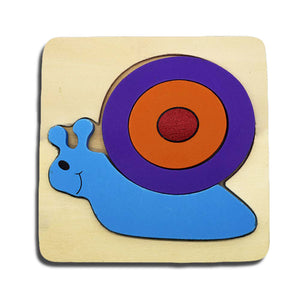 DAISYLIFE Natural and Eco-friendly Wooden Snail Animal Puzzle Boards for 2+ year old kids