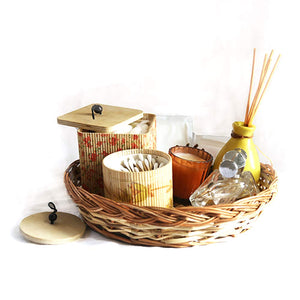 DAISYLIFE Natural Color and Eco-friendly Wicker Round Basket for storage