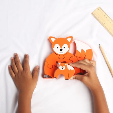 DAISYLIFE Natural Wooden Colorful Animal Toy Puzzles (Fox, Deer, Porcupine and Rabbit) for Kids and Toddlers.