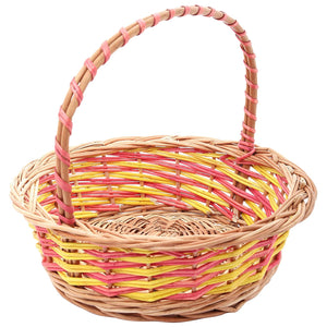 """Pink & Yellow"" Natural Wicker Round Gift Basket (S&M, set of 2 sizes)"