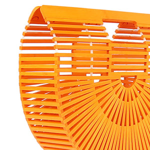 DAISYLIFE Natural  and Eco-friendly Pumpkin Orange Bamboo Ark Designer Bag in Oriental Design for vacation, beach bag, party bag, casual bag
