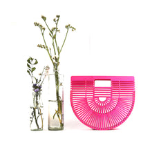Load image into Gallery viewer, DAISYLIFE Natural  and Eco-friendly Pink Bamboo Ark Designer Bag in Oriental Design for vacation, beach bag, party bag, casual bag