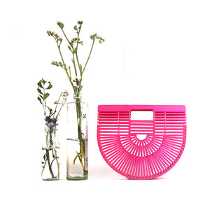 DAISYLIFE Natural  and Eco-friendly Pink Bamboo Ark Designer Bag in Oriental Design for vacation, beach bag, party bag, casual bag
