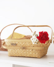 "Load image into Gallery viewer, 10"" square bamboo basket with folding handles"