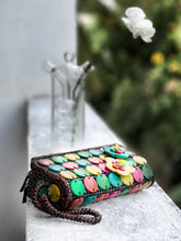 Load image into Gallery viewer, DaisyLife natural coconut multicolor fashion wristlet clutch bag