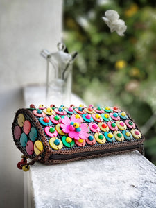 DaisyLife natural coconut shell multicolor fashion sling bag with pink flower