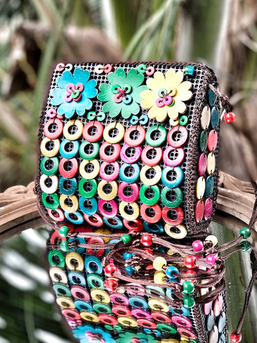 DaisyLife natural coconut shell multicolor floral fashion sling bag
