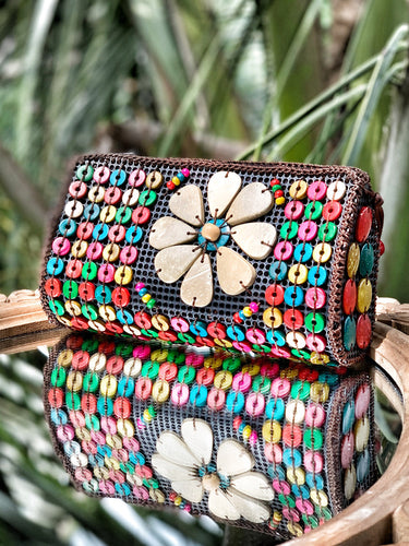 DaisyLife natural coconut shell multicolor fashion sling bag with big flower