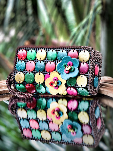 DaisyLife natural coconut multicolor fashion wristlet clutch bag