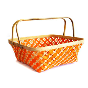 DaisyLife orange colour 10 inch bamboo basket with folding handles  side view