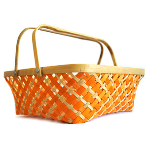 DaisyLife orange colour 10 inch bamboo basket with folding handles