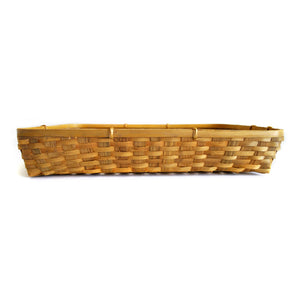 Natural bamboo tray basket straight front view