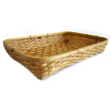 Load image into Gallery viewer, Natural bamboo tray basket top view