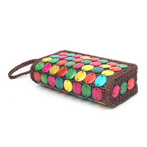DAISYLIFE Natural, Eco-friendly and spacious colorful Coconut Shell Clutch Purse Bag for everyday use