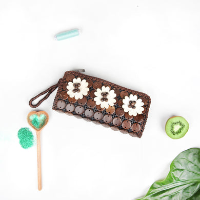 DAISYLIFE Natural and Eco-Friendly floral brown coconut shell clutch bag / wallet