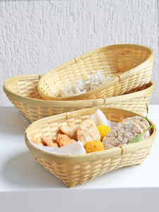 DaisyLife natural bamboo set of 3 tray  basket for serving festive food