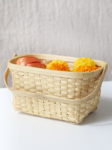 DaisyLife natural bamboo festive floral basket with handle