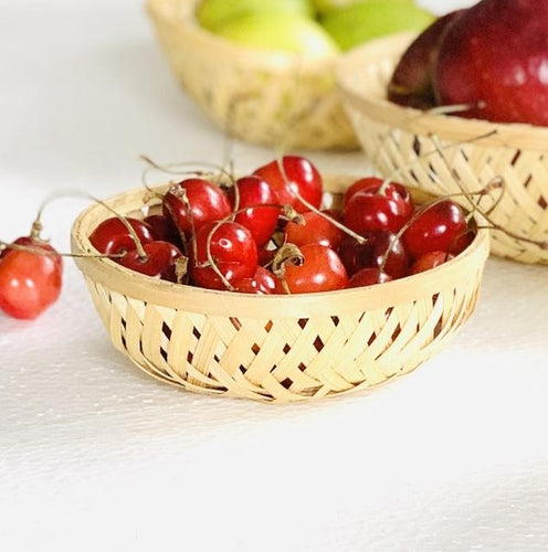 DaisyLife natural 4 inch round bamboo basket with cherries