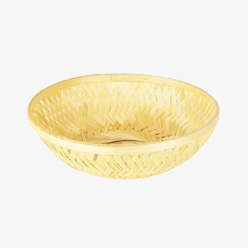 DaisyLife natural 9 inch round bamboo basket top view