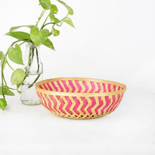 Load image into Gallery viewer, DaisyLife pink color 9 inch round bamboo basket