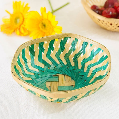 DaisyLife green color 7 inch hexagon bamboo basket