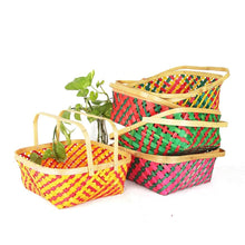 Load image into Gallery viewer, DaisyLife multi colour 10 inch bamboo baskets with folding handles