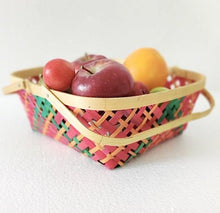 Load image into Gallery viewer, DaisyLife multicolour 10 inch bamboo basket with folding handles for fruits