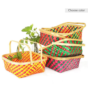 DaisyLife multicolor 10 inch square bamboo baskets with handles