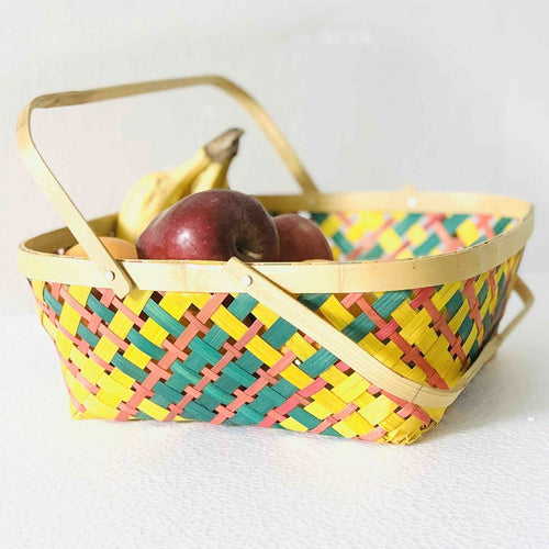 DaisyLife multi color 12 x 12 inch bamboo basket with folding handles for fruits