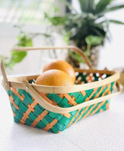 Load image into Gallery viewer, DaisyLife Multi color medium bamboo basket with folding handles for fruits