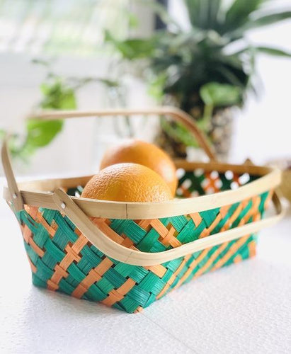 DaisyLife Multi color medium bamboo basket with folding handles for fruits