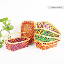 Load image into Gallery viewer, DaisyLife multi color medium 6x10 inch rectangle bamboo basket with folding handles