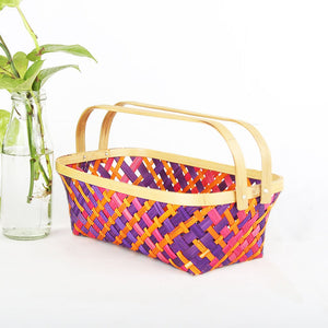 DaisyLife multi color medium  rectangular  bamboo basket with folding handles
