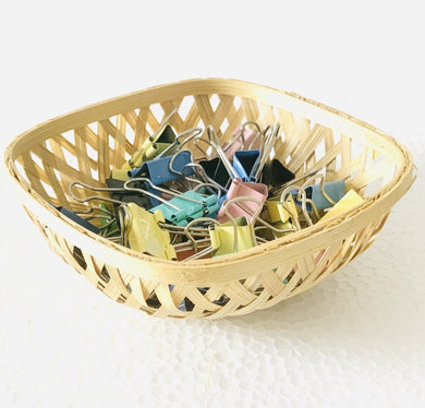 DaisyLife natural 5 inch square bamboo basket with paperclips