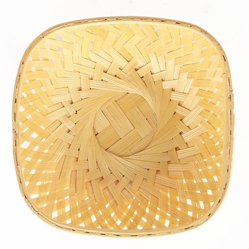 DaisyLife natural 6 inch square bamboo basket top flat view