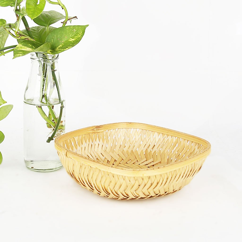 DaisyLife natural 7 inch square bamboo basket