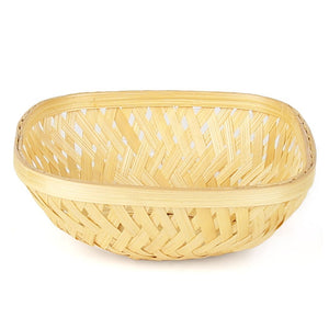 DaisyLife natural 7 inch square bamboo basket front view
