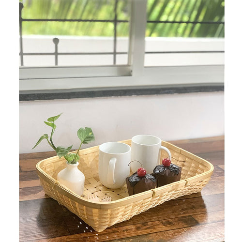 DaisyLife natural bamboo tray basket with cupcakes and coffee mugs
