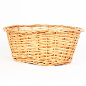 Natural oval big wicker basket front view