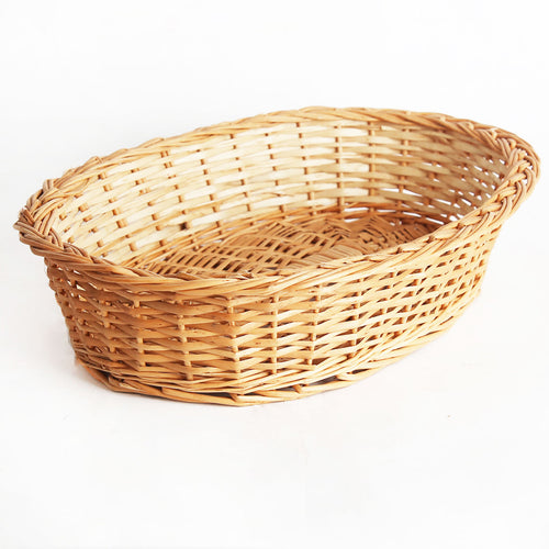 DaisyLife natural round oval big wicker basket front view
